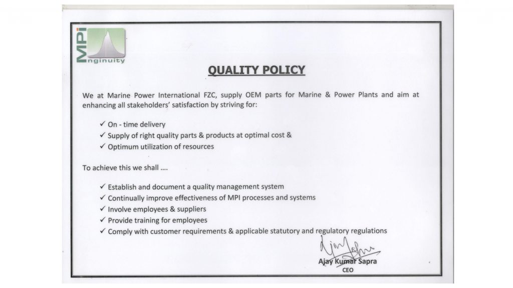 MPI Quality Policy