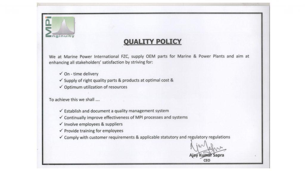 MPI Quality Policy